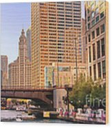 Chicago River Reflections Wood Print