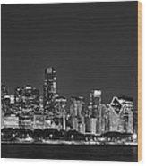 Chicago Skyline At Night Black And White Panoramic Wood Print