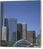 Chicago Skyline Wood Print by Rafael Macia