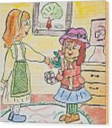 Child Drawing Of Mother Giving Gift To Daughter Wood Print