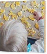 Children Baking Christmas Cookies Wood Print
