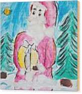 Child's Drawing Of Santa Claus With Watercolors Wood Print