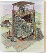 Chinese Astronomical Clocktower Built Wood Print