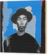 Chinese Man In Traditional Dress Circa 1882 Collage Tucson Arizona 1882-2013 Wood Print