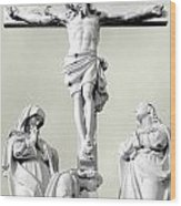 Christ On The Cross With Mourners Evansville Indiana 2006 Wood Print by John Hanou
