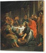 Christ Washing The Apostles' Feet Wood Print