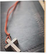 Christian Cross On Bible Wood Print by Elena Elisseeva