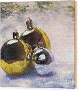 Christmas Balls Artistic Vintage Painting Wood Print