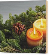 Christmas Candles Wood Print by Elena Elisseeva
