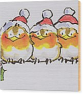 Christmas Robins  Wood Print