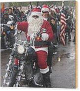 Christmas Toys For Tots Santa On Motorcycle Casa Grande Arizona 2004 Wood Print