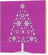 Christmas Tree Made Of Snowflakes On Pink Background Wood Print
