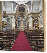 Church Of Santa Barbara Interior In Madrid Wood Print