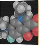 Ciprofloxacin Drug Molecule Wood Print