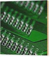 Circuit Board Bokeh Wood Print