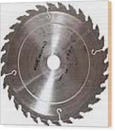 Circular Saw Blade Isolated On White Wood Print