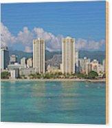 City At The Waterfront, Waikiki Wood Print