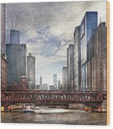 City - Chicago Il - Looking Toward The Future Wood Print