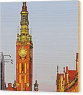 City Hall In Gdansk Wood Print