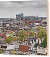 City Of Amsterdam From Above Wood Print