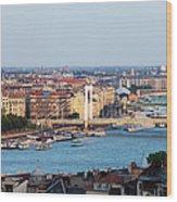 City Of Budapest At Sunset Wood Print