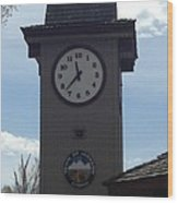 City Of Jackson Hole Clock Wood Print