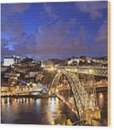City Of Porto In Portugal By Night Wood Print
