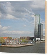 City Of Rotterdam In Netherlands Wood Print