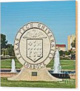 Classical Image Of The Texas Tech University Seal  Wood Print