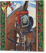 Cleveland Bay Horse Christmas Card Wood Print