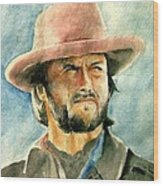 Clint Eastwood Wood Print by Nitesh Kumar