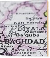 close up of Baghdad on map-Iraq Wood Print