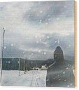Closeup Of Man Walking On Snowy Winter Road Wood Print