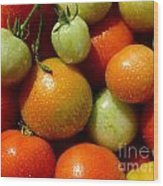 Closeup Of Ripening Fresh Tomatoes Wood Print