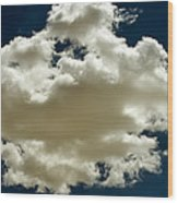 Cloud On Dark Sky. Wood Print