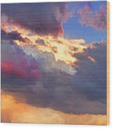 Cloudscape Sunset Touch Of Blue Wood Print