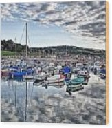 Cloudy Morning - Lyme Regis Harbour Wood Print