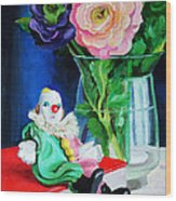 Clown Book And Flowers Wood Print