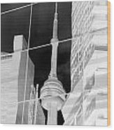 Cn Tower Reflected Wood Print