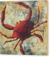 Coastal Crab Decorative Painting Original Art Coastal Luxe Crab By Madart Wood Print
