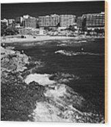 Coastal Path Past Salou Waterfront Properties On The Costa Dorada Catalonia Spain Wood Print