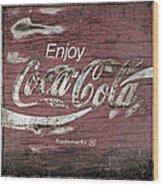 Coca Cola Pink Grunge Sign Wood Print