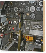 Cockpit Of A P-40e Warhawk Wood Print