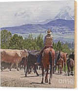 Colorado Cowboy Cattle Drive Wood Print