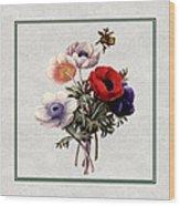 Colorful Anemones Square Wood Print