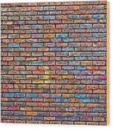 Colorful Brick Wall Texture Wood Print