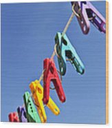 Colorful Clothes Pins Wood Print by Elena Elisseeva