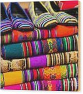Colorful Fabric At Market In Peru Wood Print