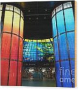 Colorful Glass Work Ceiling And Columns Wood Print