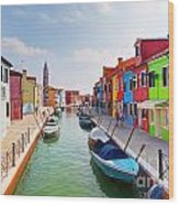 Colorful Houses And Canal On Burano Island Near Venice Italy Wood Print